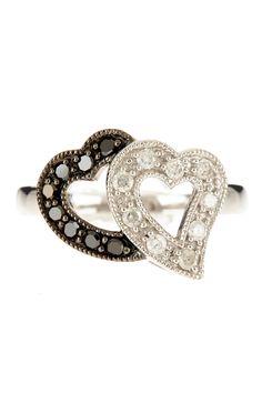 Silver Black & White Rhodium Plated Two-Tone Diamond Ring on HauteLook