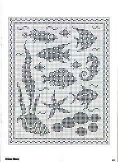 Kira scheme crochet: Scheme crochet no. Filet Crochet Charts, Crochet Diagram, Knitting Charts, Crochet Stitches, Knitting Patterns, Crochet Patterns, Embroidery Patterns, Cross Stitch Sea, Cross Stitch Animals