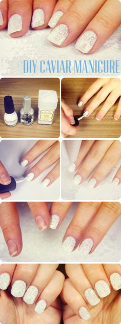 DIY caviar manicure with clear micro beads, pretty.