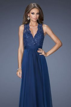 2014+Prom+Dresses+A+Line+Floor+Length+V+Neck+Chiffon+And+Lace+Dark+Navy+Color