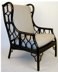 Rattan chair painted black =  lovely
