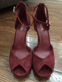 67dae6cb258a Michael Kors Red Suede Heels Size 8.5  fashion  clothing  shoes   accessories