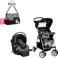 Zebra Print Baby Car Seat And Stroller Combo