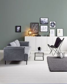 Cosy Scandinavian living room, with interior decor in shades of green and white. Living Room Green, Home Living Room, Interior Design Living Room, Living Room Decor, Apartment Makeover, Decoration Inspiration, Decor Ideas, House And Home Magazine, Living Room Inspiration