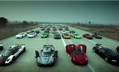 Wow! That's a lot of supercars! #pagani #exoticcars