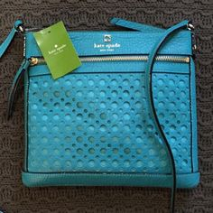 Kate Spade Cross body satchel Super adorable! Perri Lane Bubbles Kate spade satchel. 9x10. Color is called neon turquoise. Perfect for summer!☀️ ***NO TRADES*** kate spade Bags Satchels