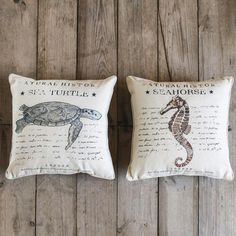 Sea Turtle Pillow. Sea Horse Pillow. Inspired from the pages of a Natural History book, our pillows give your living space a vintage inspiration with coastal appeal. Linen cover with embroidered details.