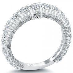 2.18 Carat Art Deco Design Wedding Band 18k White Gold Antique Vintage Style - Rings - Lioridiamonds.com