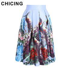 Vintage Peacock Floral Print Pleated Skirt  Only $19.99 => Save up to 60% and Free Shipping => Order Now!  #Skirt outfits #Skirt steak #Skirt pattern #Skirt diy #skater Skirt #midi Skirt #tulle Skirt #maxi Skirt #pencil Skirt
