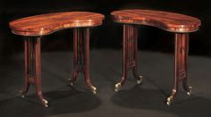 Two Regency Rosewood Kidney-Shaped Tables   From a unique collection of antique and modern side tables at https://www.1stdibs.com/furniture/tables/side-tables/
