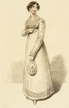 Dinner Dress, fashion plate, hand-colored negraving on paper, published London, February 1815.