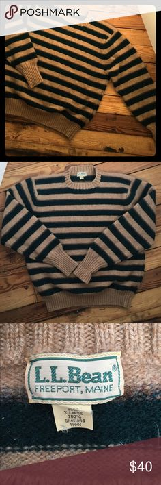 Vintage L.L. Bean Striped Crewneck Sweater Men's vintage L.L. Bean striped sweater. 100% Shetland wool. Great condition. Size XL but definitely would fit more like M-L. Tan/hunter green stripes L.L. Bean Sweaters Crewneck