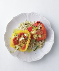 Tomato-and-Feta Stuffed Peppers Over Barley from realsimple.com #myplate #grains #vegetables