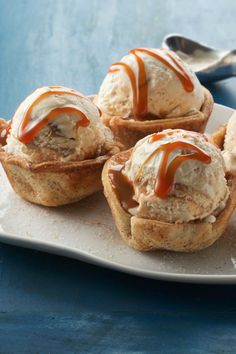 Mini pie cups with a hidden layer of dulce de leche in the bottom.