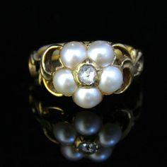 Antique Georgian Pearl & Diamond Ring  18ct Gold  by LaurelleLtd