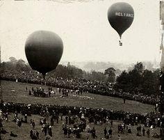 Balloon ascent at Crystal Palace, Sydenham, Vintage London, Old London, Crystal Palace, Hyde Park, Local History, British History, Vintage Photographs, Vintage Photos, Exhibition Building