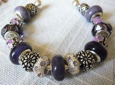 Купить Сиреневые цветочки Браслет Пандора 39 - сиреневый, браслет женский, браслет пандора, пандора