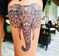 Stomach Tattoos, Head Tattoos, Time Tattoos, Cover Up Tattoos, Body Art Tattoos, Belly Tattoos, Mandala Elephant Tattoo, Elephant Tattoo Design, Elephant Tattoos