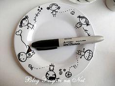 como pintar canecas com canetas sharpie, como pintar pratos e louças com canetas sahrpie