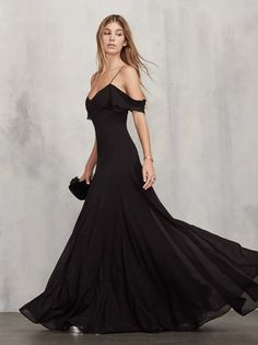 Friends don't make friends wear ugly dresses. The Lara Dress is an off-the-shoulder georgette gown with a V neckline, draped sleeves and tiny spaghetti straps. https://www.thereformation.com/products/lara-dress-black?utm_source=pinterest&utm_medium=organic&utm_campaign=PinterestOwnedPins