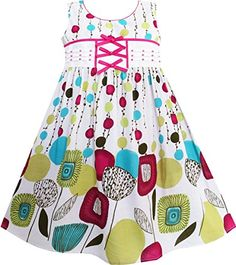 FL51 Sunny Fashion Girls Dress Polka Dot Flower Pattern Cute Bow Tie Green Size 3 -- Visit the image link more details.