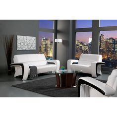 Add a stylish touch to your home decor with this three-piece sofa set. A durable upholstery and silver finish highlight this contemporary sofa, loveseat and chair.