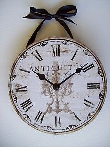 """French Country Paris Shabby Cottage Chic 7.5"""" Quartz Wall Clock Distressed Look"""