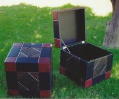 Carved and painted cubes.  Very useful for storage