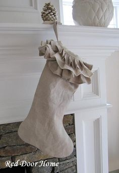 Linen Christmas Stocking  Ruffle Top by RedDoorHome on Etsy, $44.00