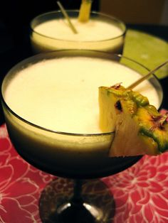 Thai Colada -- coconut milk, fresh lemongrass, fresh pineapple, and a frozen banana are blended with simple syrup and rum.  One word: VITAMIX