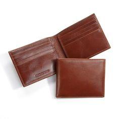 Personalized Pink Flamingo Genuine Leather Mens Bi-fold Wallet