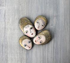 Painted stones. 3 Beach stones. girl portrait ooak by sabiesabi