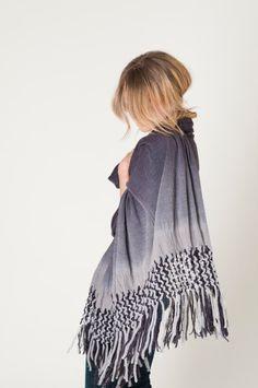 Women shawl, Charcoal macramé shawl woman wrap, organic Spring fashion by Texturable on Etsy, $150.00