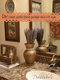 This turned out beautifully! How clever an idea as well! A diy vase with rit dye and mod podge, tutorial included!   From Debbiedoo's!