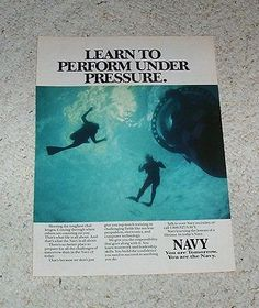 1990 ad page -USN Navy job Military career scuba diving divers PRINT ADVERTISING