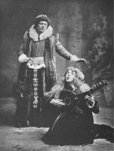 The first-ever Elizabethan Stage Society performance, of Hamlet, in 1881. William Poel, the moving spirit of the ESS, played Hamlet, Maud Holt Ophelia.
