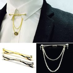 Hot Mens  Silver Gold Necktie Tie Clip Bar Clasp Cravat Pin Skinny Brooch Collar