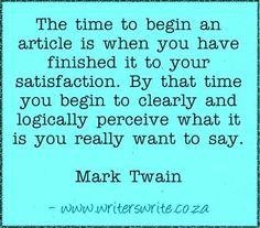 Writer's Write - Quotable - Mark Twain
