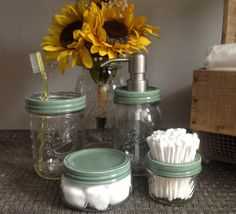 Mason Jar 5 PC Bath Set Sage Green Farm Beach House by talona, $58.00