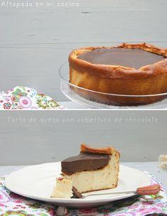Tarta de queso con cobertura de chocolate /http://atrapadaenmicocina.blogspot.com.es/