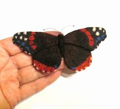Felt Brooch, Red Admiral,For Her,Wife Gift,Girlfriend Gift, Best Friend Gift, Birthday Gift,Gift Womens, keepsake gift, felt jewelry, friendship  This is a wonderful keepsake for the girlfriend, wife or best friend.  This item is MADE TO ORDER and ships in 4 days.I make several items at once, so they may slightly differ from each other.  Felt Brooch Butterfly measures about 11.5 cm * 5 cm and it has a securely attached pin on the back…