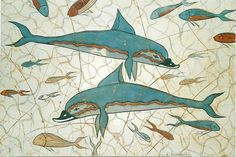"""Dolphins"" part of a wall-painting from Knossos, Crete, c.1550 B.C. (copy)"