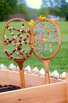 Tennis Racket Garden Art from the book Project Garden