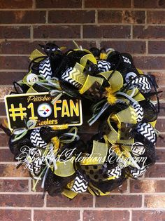 Pittsburgh STEELERS Deco Mesh Wreath by SparkledIntentions on Etsy