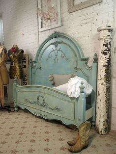 Gorgeous Teal Bed Shabby Chic with cowboy boots