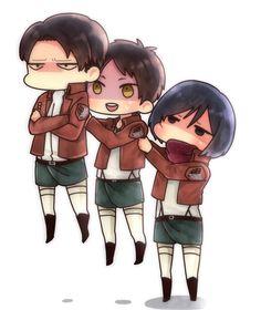 Rivaille (Levi), Eren Jaeger and Mikasa Ackerman