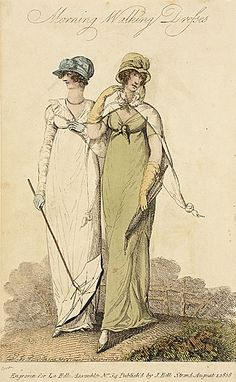La Belle Assemblee, Morning Walking Dresses, August 1808.