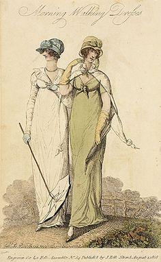 La Belle Assemblee, Morning Walking Dresses, August 1808.
