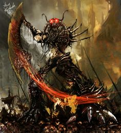 A Daemon of Nurgle, Chaos god of pestilence and disease. Gross, but this artwork is amazing