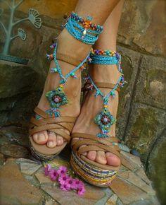 blue HIPPIE summer BAREFOOT SANDALS crochet sandals by GPyoga